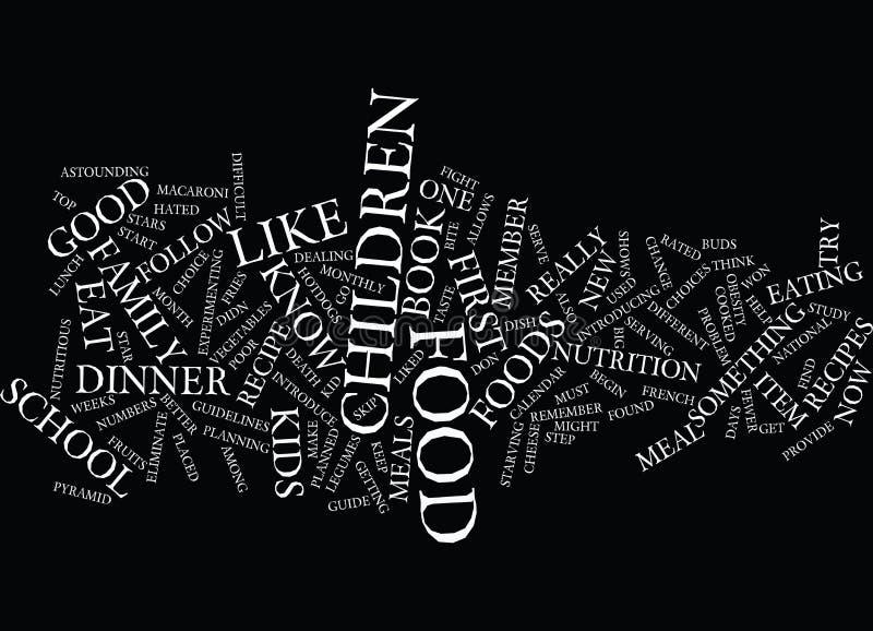 Guia do alimento para o conceito da nuvem da palavra do fundo do texto das crianças ilustração stock