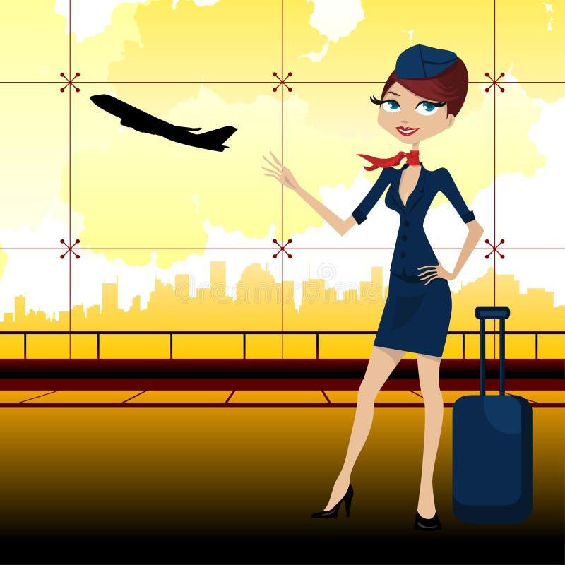 Guia do curso no aeroporto ilustração stock