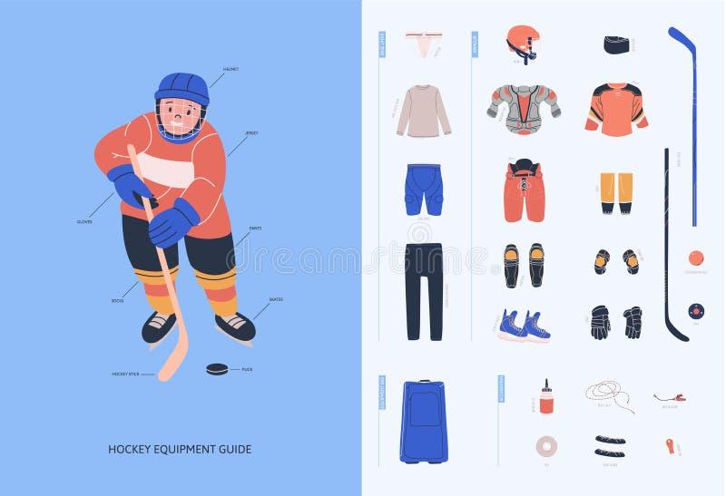 Guia do equipamento do hóquei em gelo para jogadores masculinos novos ilustração stock