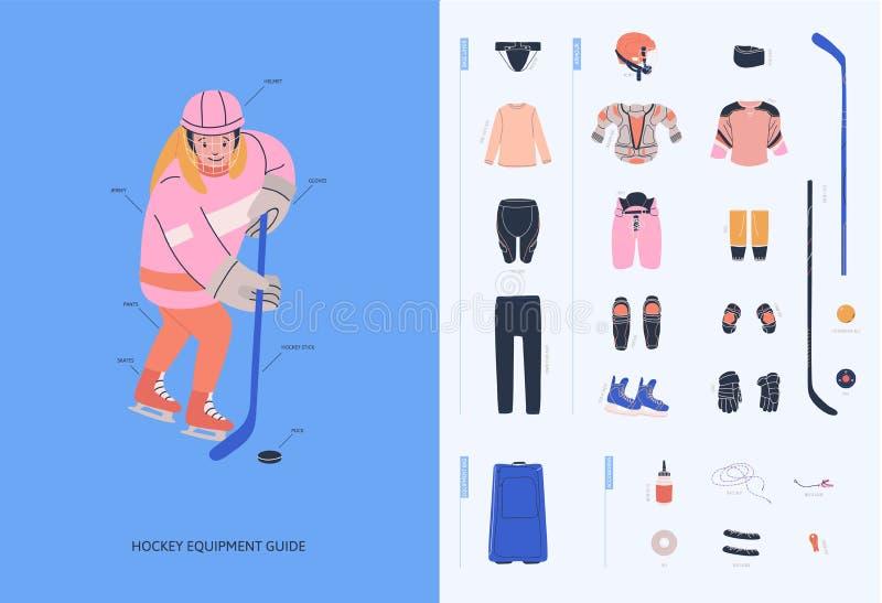 Guia do equipamento do hóquei em gelo para o jogador fêmea novo do novato ilustração royalty free