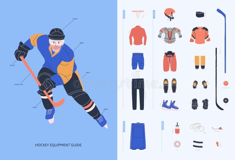 Guia do equipamento do hóquei em gelo para o jogador masculino adulto ilustração royalty free