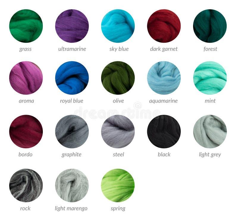 Guia fresco da paleta de lãs do merino das cores com títulos imagens de stock