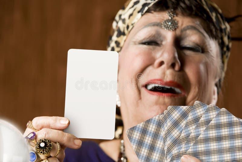 Guichet de fortune avec la carte vierge de Tarot photo stock