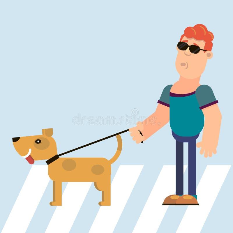 Guida del cane e dei ciechi illustrazione vettoriale