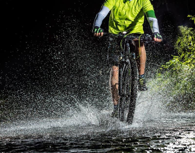 Guida del ciclista in mountain-bike nella corrente della foresta immagine stock libera da diritti