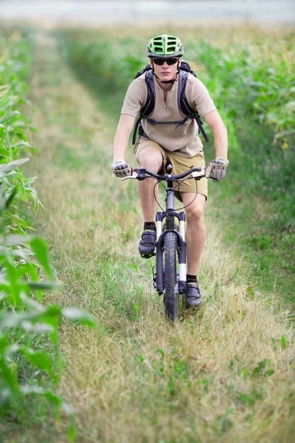 Guida del motociclista della montagna sulla bicicletta immagine stock libera da diritti