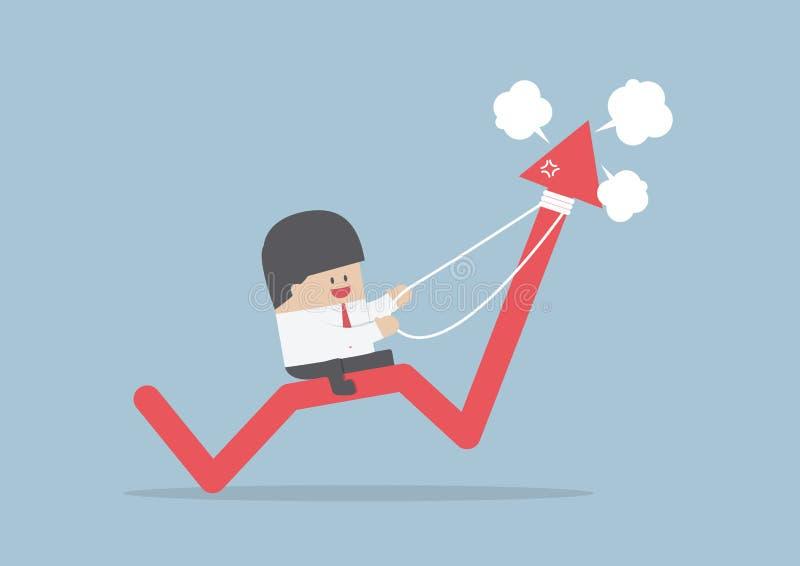 Guida dell'uomo d'affari sul grafico arrabbiato del mercato azionario illustrazione di stock