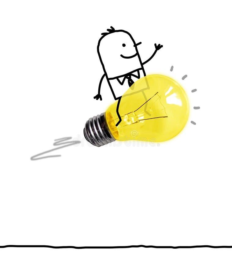 Guida dell'uomo del fumetto su una lampadina Rocket fotografie stock libere da diritti
