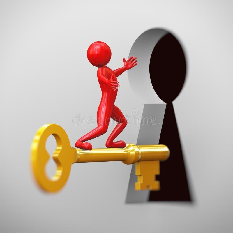 guida dell'uomo rosso 3d sulla chiave dorata illustrazione vettoriale