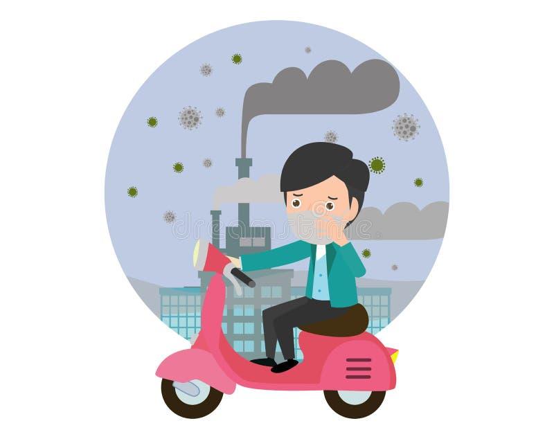 Guida dell'uomo sulle loro motociclette , maschera d'uso dell'uomo contro smog Polvere fine, inquinamento atmosferico illustrazione di stock