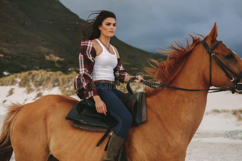 Guida della donna con il suo stallone sulla spiaggia fotografie stock libere da diritti