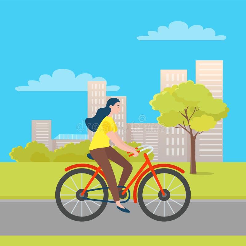 Guida della donna sulla bicicletta nel parco di Green City, alberi royalty illustrazione gratis