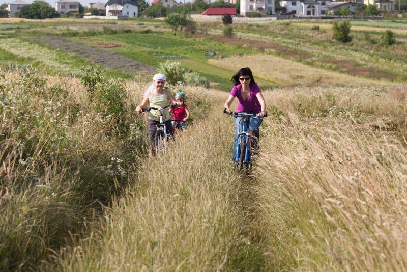 Guida della famiglia biciclette nel prato immagini stock libere da diritti