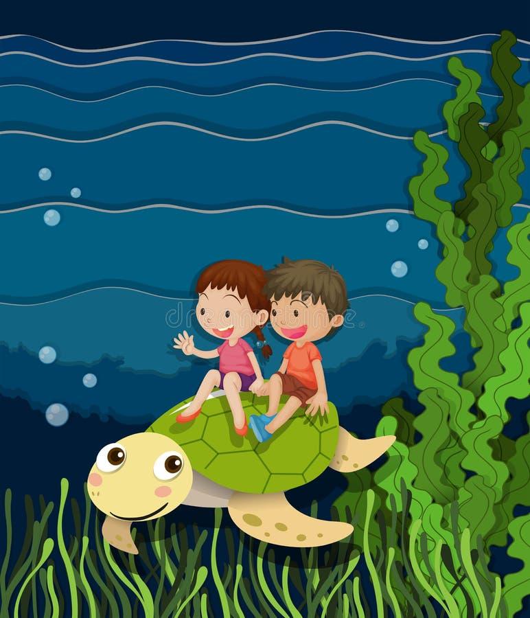 Guida della ragazza e del ragazzo sulla tartaruga subacquea illustrazione vettoriale