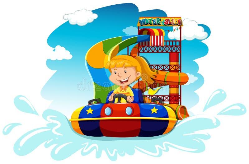 Guida della ragazza sull'acquascivolo illustrazione di stock