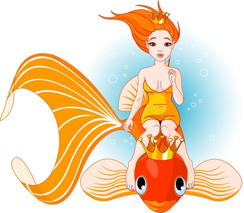 Guida della sirena su un pesce dorato illustrazione di stock