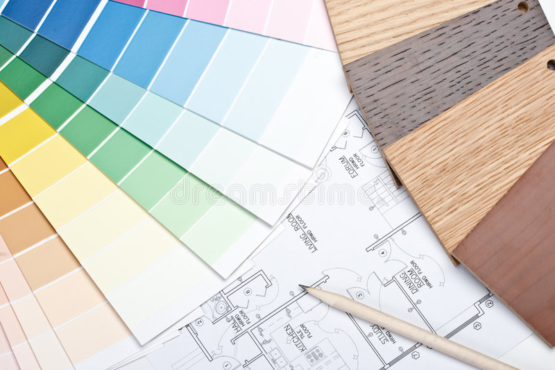 Guida di colore, campioni materiali e cianografia fotografia stock libera da diritti
