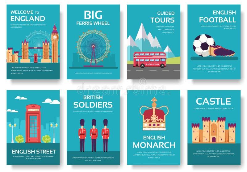 Guida di vacanza di viaggio dell'Inghilterra del paese delle merci, dei posti e delle caratteristiche Insieme di architettura, mo illustrazione di stock