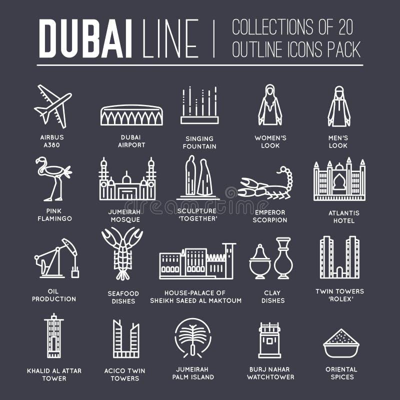 Guida di vacanza di viaggio del Dubai del paese delle merci, del posto e della caratteristica Insieme di architettura, modo, la g illustrazione vettoriale