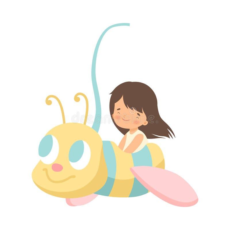 Guida sveglia della bambina al carosello dell'ape, bambino felice divertendosi nell'illustrazione di vettore del parco di diverti royalty illustrazione gratis