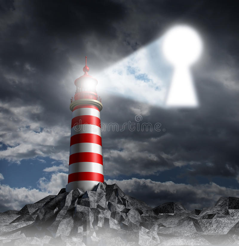 Guidance Key. Business concept with a lighthouse beacon tower shinning a guiding light shaped as a key hole on a stormy dark background sky as a symbol of hope vector illustration