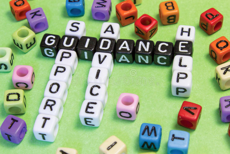Guidance. Support advice help guidance puzzle words concept royalty free stock photography