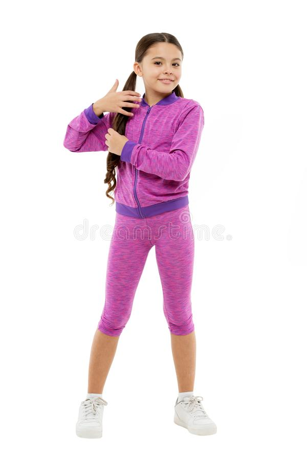 Guidance on working out with long hair. Deal with long hair while exercising. Working out with long hair. Girl cute kid. With long ponytails wear sportive royalty free stock image