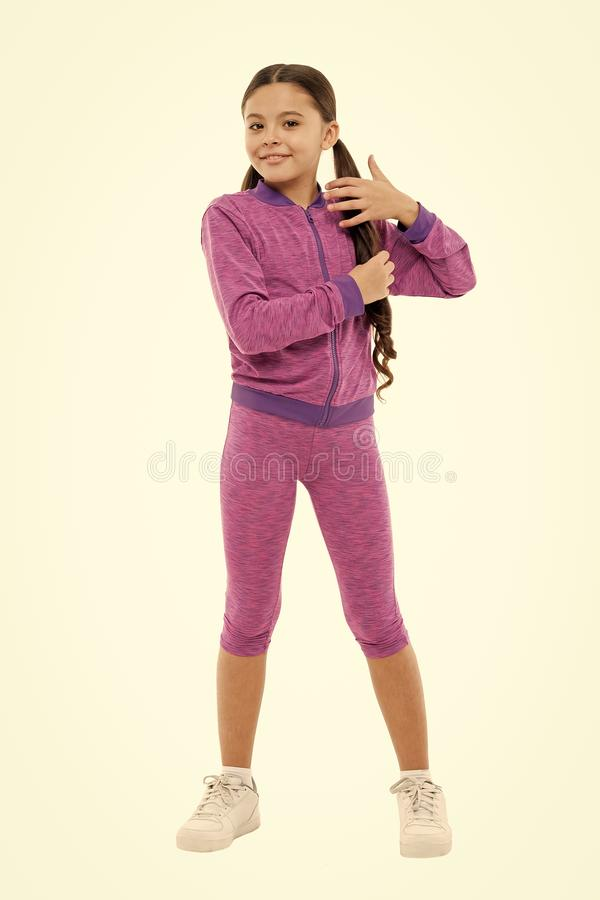 Guidance on working out with long hair. Deal with long hair while exercising. Working out with long hair. Girl cute kid stock images
