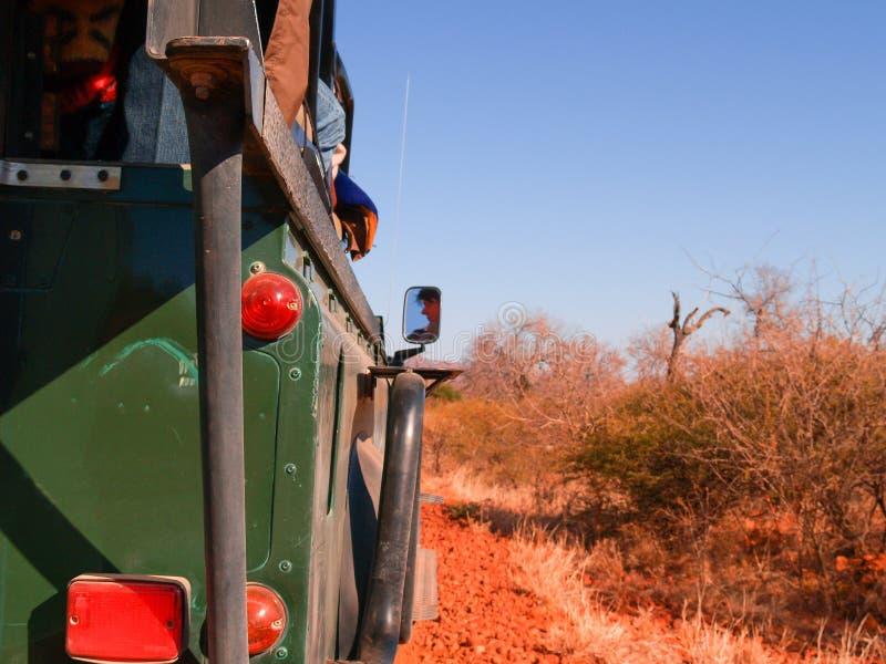 Guidando sul safari attraverso il paesaggio sudafricano sbalorditivo fotografia stock