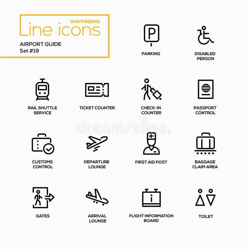 Guide d'aéroport - ligne simple icônes de vecteur moderne réglées illustration libre de droits