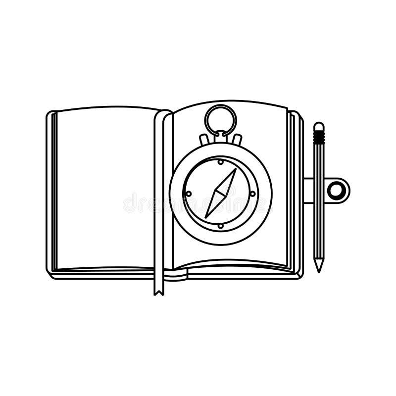 Guide de boussole avec le carnet illustration de vecteur