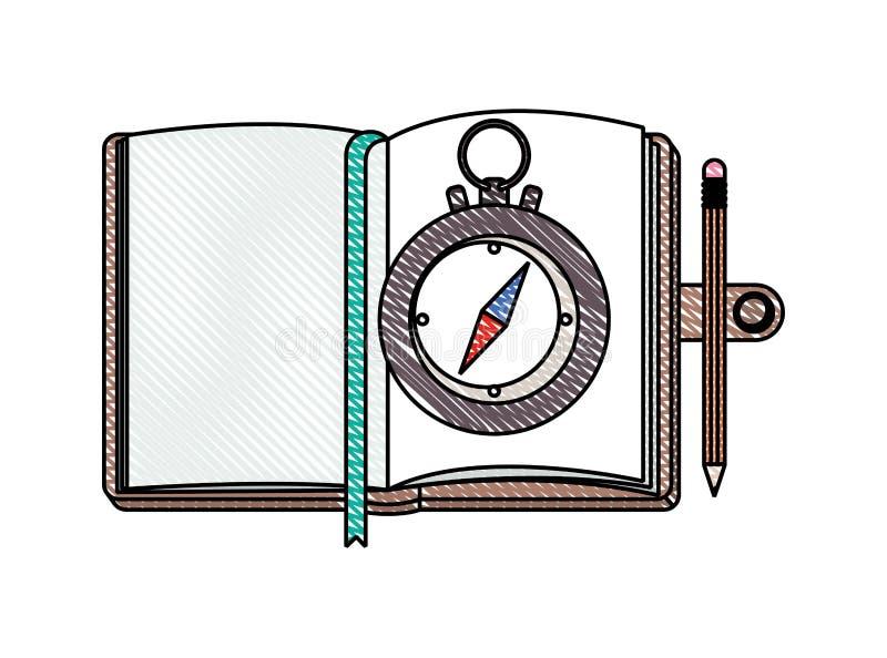 Guide de boussole avec le carnet illustration stock