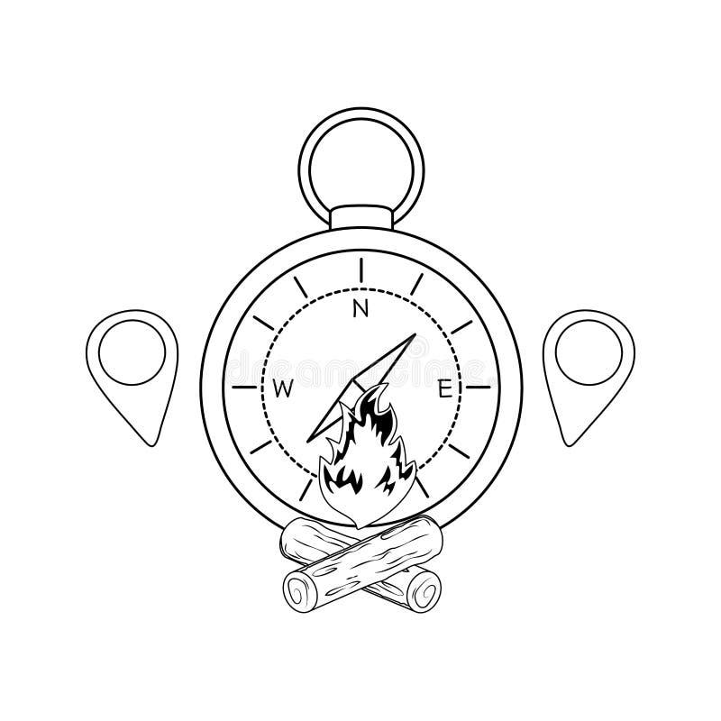 Guide de boussole avec le feu de camp illustration stock