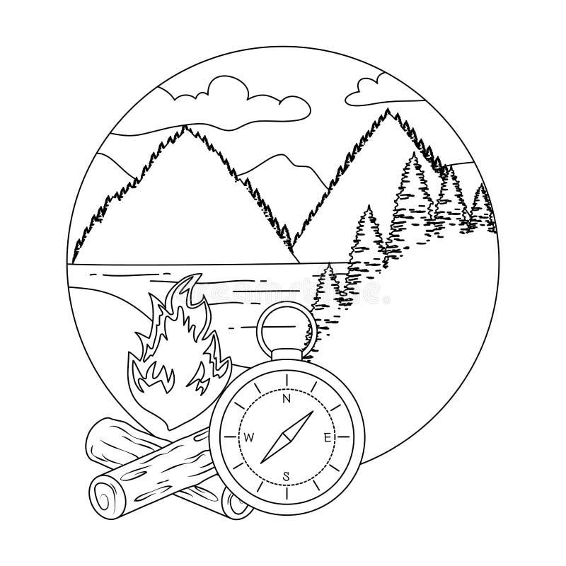 Guide de boussole avec le feu de camp illustration de vecteur