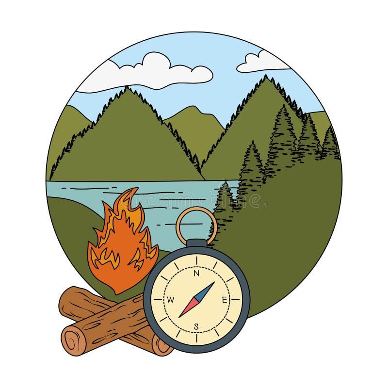 Guide de boussole avec le feu de camp illustration libre de droits