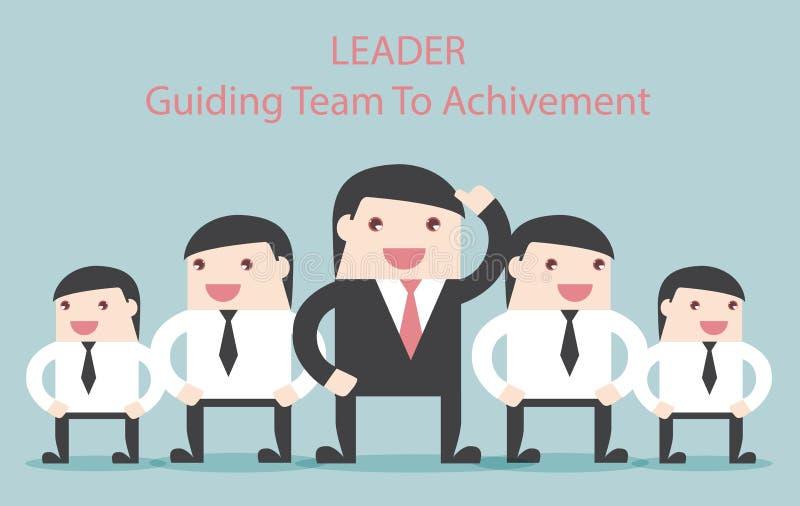 Guide de chef de file des affaires l'équipe à l'accomplissement illustration stock