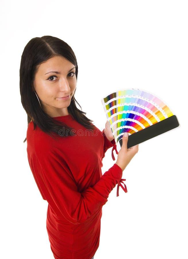 Guide de couleur de fixation de femme photographie stock