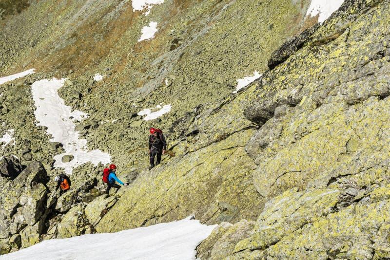Guide de montagne avec quelques clients photographie stock