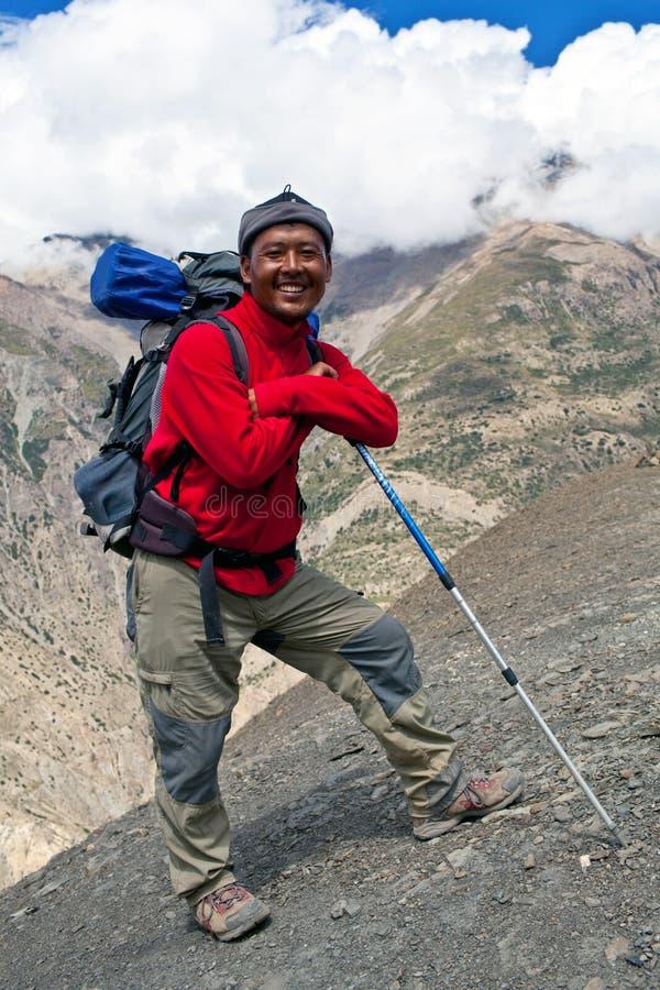 Guide de trekking de Sherpa, Népal images libres de droits