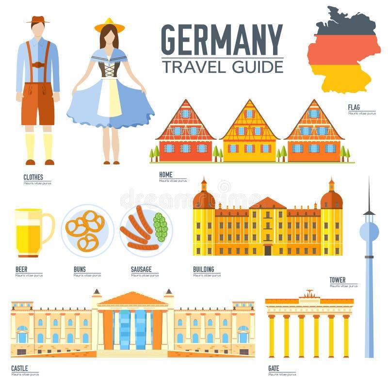 Guide de vacances de voyage de l'Allemagne de pays des marchandises, des endroits et des caractéristiques Ensemble d'architecture illustration libre de droits