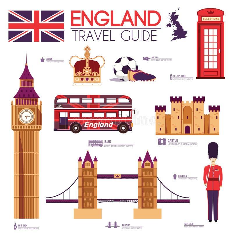 Guide de vacances de voyage de l'Angleterre de pays des marchandises, des endroits et des caractéristiques Ensemble d'architectur illustration libre de droits