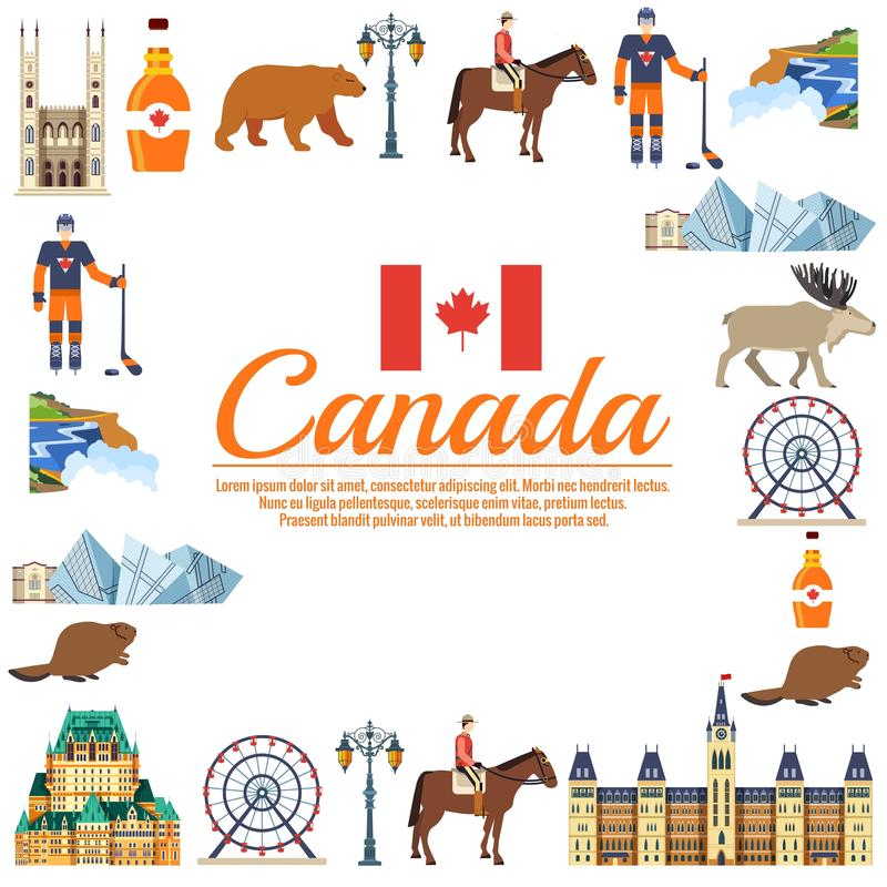 Guide de vacances de voyage de Canada de pays des marchandises, des endroits et des caractéristiques r illustration libre de droits