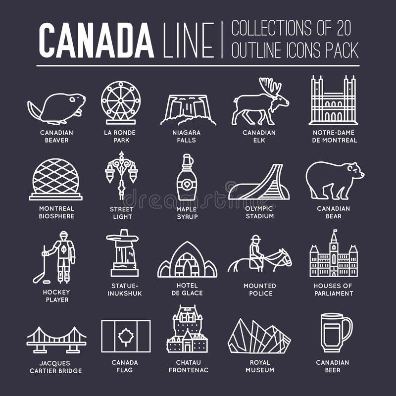 Guide de vacances de voyage de Canada de pays des marchandises, de l'endroit et de la caractéristique Placez de l'architecture, m illustration de vecteur