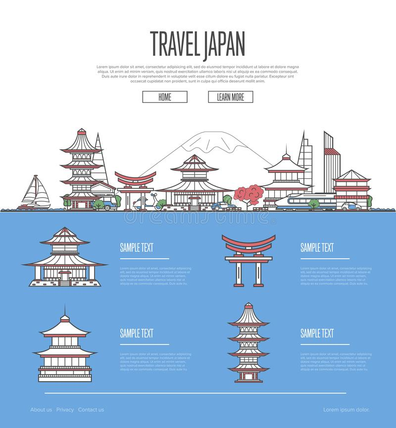 Guide de vacances de voyage du Japon de pays illustration libre de droits