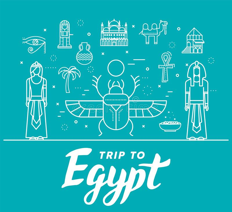 Guide de vacances de voyage de l'Egypte de pays des marchandises, des endroits et des caract?ristiques Ensemble d'architecture, l illustration stock