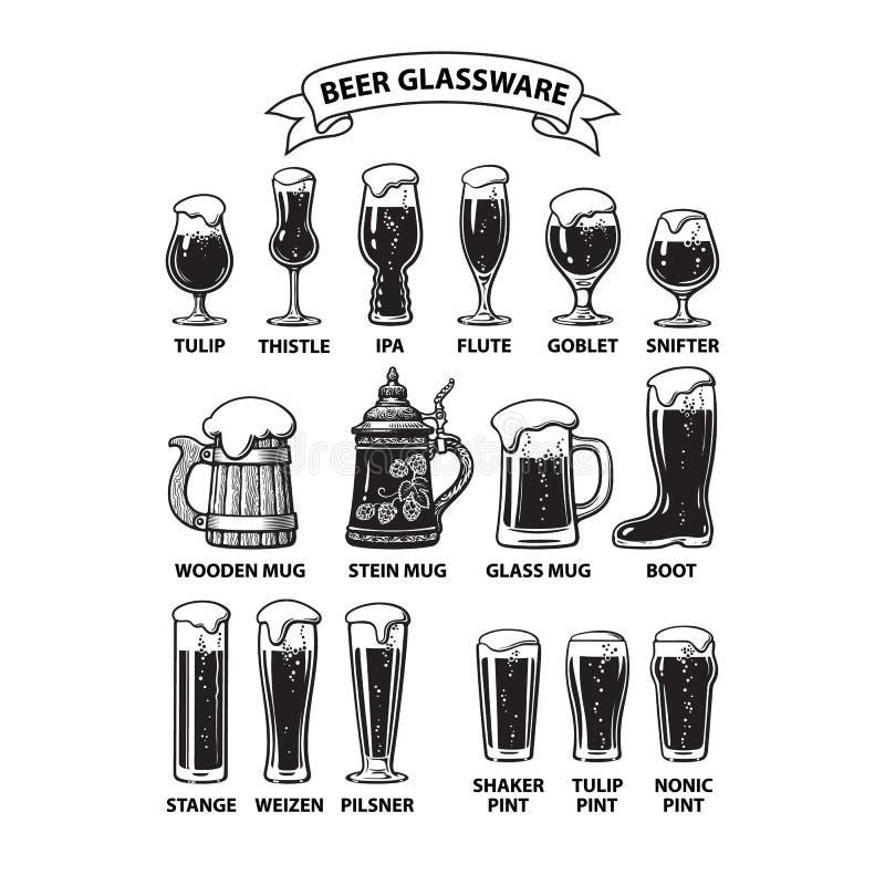 Guide de verrerie de bière Divers types des verres et de tasses de bière Illustration tir?e par la main de vecteur sur le fond bl illustration stock