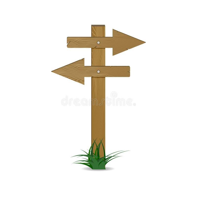 Guide et pointage du vecteur en bois d'index de flèches illustration de vecteur