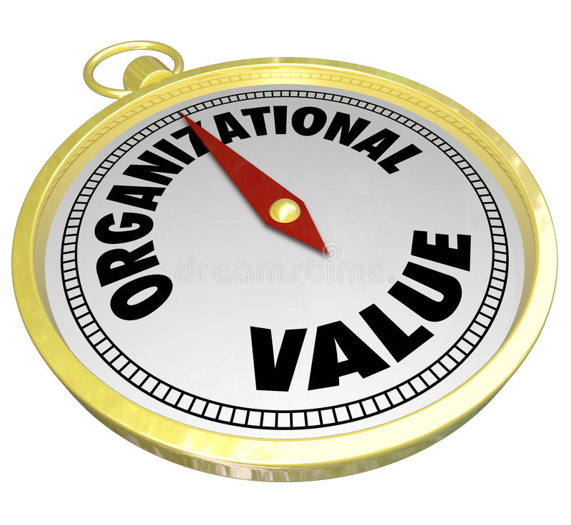 Guide organisationnel de boussole d'or de la valeur 3d en valeur l'éthique de culture illustration de vecteur