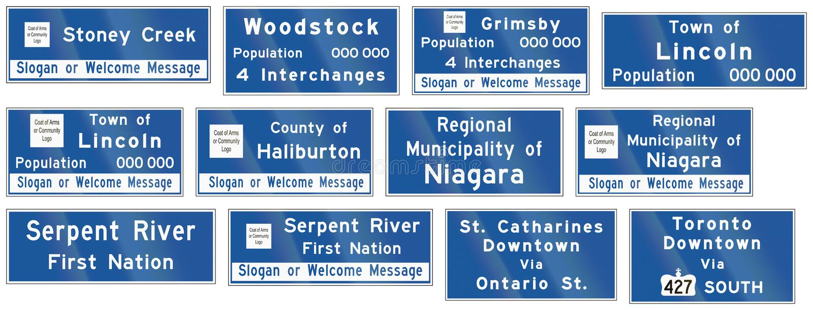 Guide road signs in Ontario - Canada. Collection of Guide road signs in Ontario - Canada stock illustration