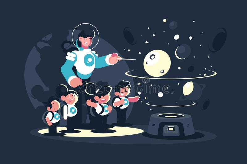 Guide with school children in planetarium. Guide, Teacher with children, schoolchildren in planetarium. Concept educational excursion for people on space. Vector vector illustration